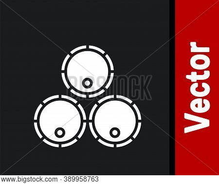 White Wooden Barrels Icon Isolated On Black Background. Alcohol Barrel, Drink Container, Wooden Keg