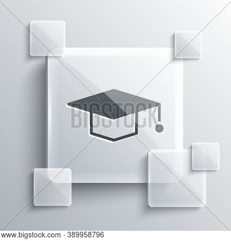 Grey Graduation Cap Icon Isolated On Grey Background. Graduation Hat With Tassel Icon. Square Glass
