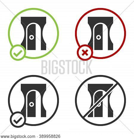 Black Pencil Sharpener Icon Isolated On White Background. Circle Button. Vector Illustration