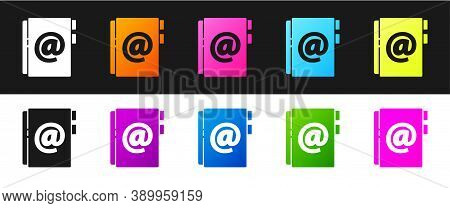 Set Address Book Icon Isolated On Black And White Background. Notebook, Address, Contact, Directory,