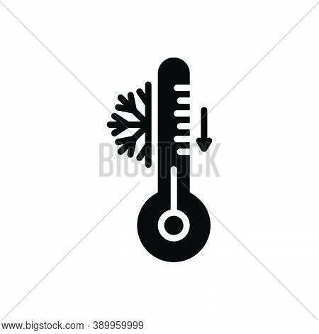 Black Solid Icon For Cool Temperature Thermometer Freezer Celsius Accuracy Degree Measurement Instru