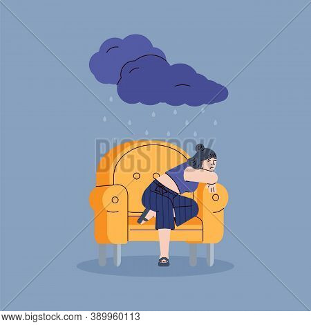 Depressed Sad Young Woman Sitting Alone In A Yellow Chair. Unhappy Upset Girl In Rain From A Dark Cl