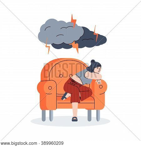 Sad Young Woman Sitting Alone In A Chair. Depressed Unhappy Girl Under Lightning From Dark Clouds. F