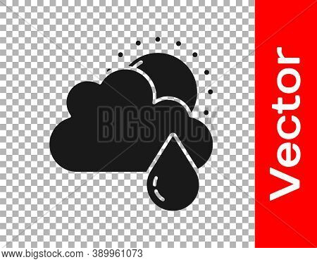Black Cloud With Rain And Sun Icon Isolated On Transparent Background. Rain Cloud Precipitation With