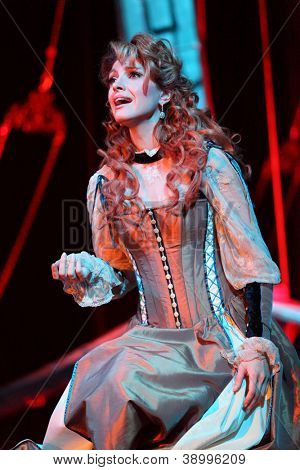 MOSCOW - FEBRUARY 3: Actress Anastasia Makeeva sings in musical