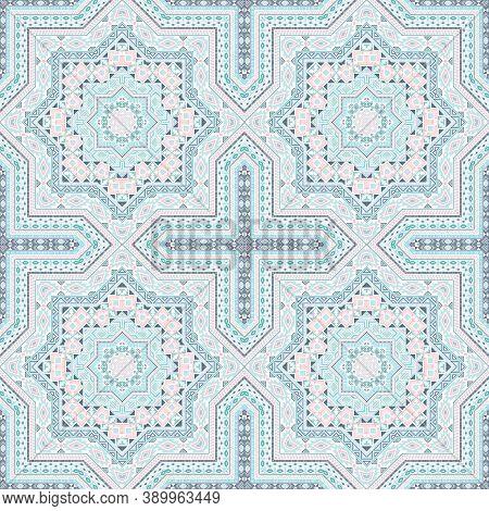 Linear Italian Maiolica Tile Seamless Rapport. Ethnic Geometric Vector Swatch. Coverlet Print Design