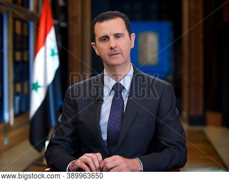Damascus, Syria, February 2020, Syria President Bashar Al Assad In Meeting