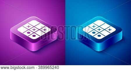 Isometric Tic Tac Toe Game Icon Isolated On Blue And Purple Background. Square Button. Vector