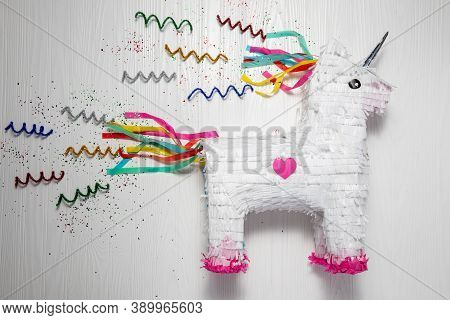 White And Rainbow Unicorn Piñata, White Background, White And Rainbow Unicorn Piñata, White Backgrou