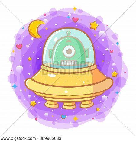 Cute Baby Alien In A Flying Saucer