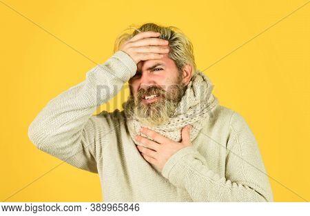 Winter Flue Disease. Feeling Bad Health. Bearded Hipster Ill. Epidemic Coronavirus From China. Weak