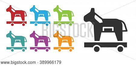Black Trojan Horse Icon Isolated On White Background. Set Icons Colorful. Vector