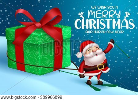 Christmas Vector Background Design. Merry Christmas Text With Santa Claus Character Pulling Gift Ele