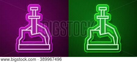 Glowing Neon Line Sword In The Stone Icon Isolated On Purple And Green Background. Excalibur The Swo