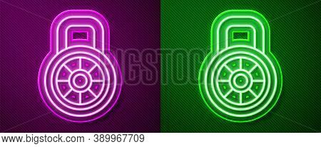 Glowing Neon Line Safe Combination Lock Icon Isolated On Purple And Green Background. Combination Pa