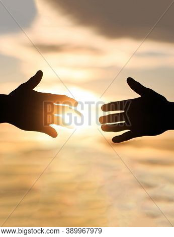 Giving A Helping Hand. Rescue, Helping Gesture Or Hands. The Outstretched Hands, Salvation, Help Sil