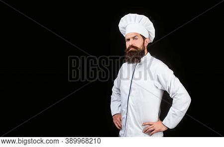 Chef, Cooks Or Baker. Bearded Male Chefs Isolated On Black. Cook Hat. Serious Cook In White Uniform,