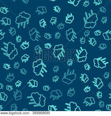 Green Line Cloud With Rain Icon Isolated Seamless Pattern On Blue Background. Rain Cloud Precipitati