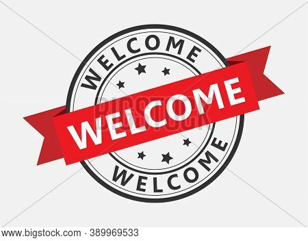 Vector Template For A Welcome Champ. Welcome On The Red Ribbon. Vector Illustration
