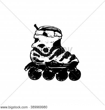 Roller Skate. Hand-drawn Vector Sketch Illustration Isolated On White Background