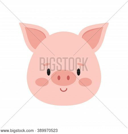 Cute Pink Pig Face Isolated On White Background. Funny Farm And Domestic Little Pig Head Icon. Flat