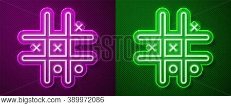 Glowing Neon Line Tic Tac Toe Game Icon Isolated On Purple And Green Background. Vector