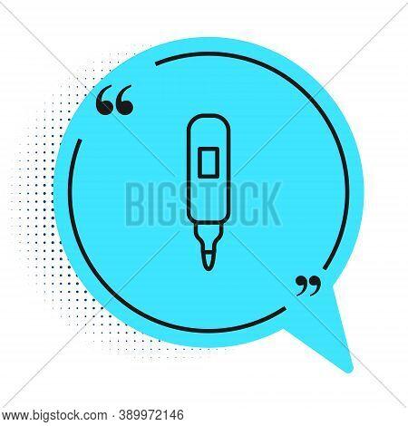 Black Line Marker Pen Icon Isolated On White Background. Felt-tip Pen. Blue Speech Bubble Symbol. Ve
