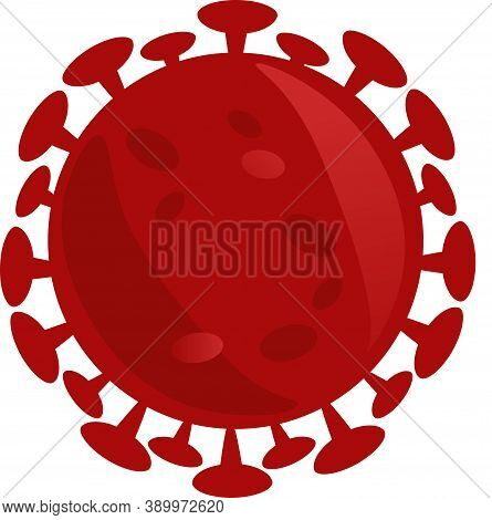 Icon Of Isolated Red Microscopic Cell Of Coronavirus - Sars-cov-2 Bacteria.
