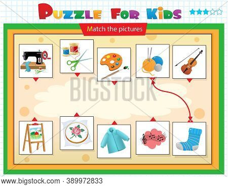 Matching Game, Education Game For Children. Puzzle For Kids. Match The Right Object. Hobbies, Creati