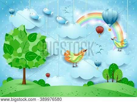 Surreal Landscape With Big Tree, Balloons, Birds And Flying Fisches. Vector Illustration Eps10