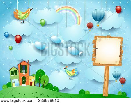 Surreal Landscape With Town, Sign, Birds And Flying Fisches. Vector Illustration Eps10