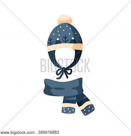Ornamented Knitted Childish Earflap Hat And Scarf. Winter Chullo With Pompom For Children. Flat Vect