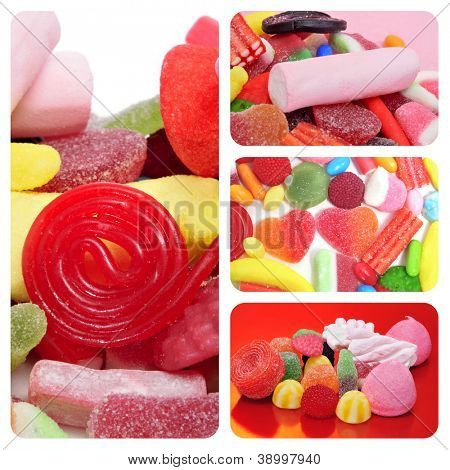 a collage of different pictures of candies