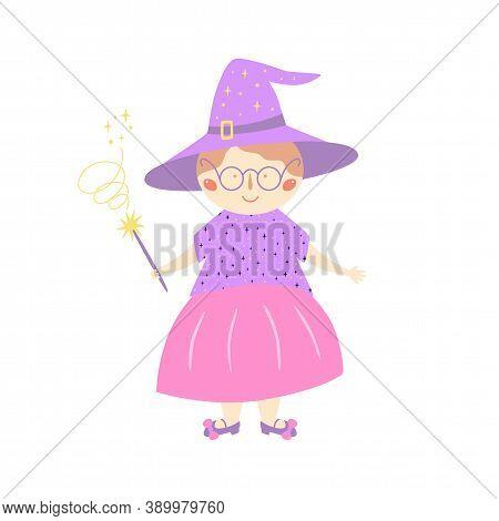 Cute Old Witch In Purple Hat With Magic Wand. Character For Halloween Holiday, Kids Cards. Sorceress