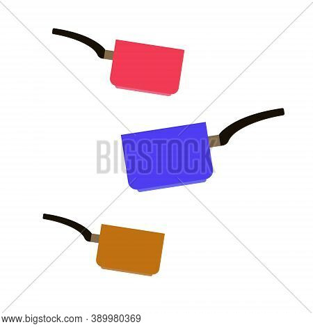 Set Of Stewpots. Red, Yellow, Brown Colors. With Black Handle. Vector Illustration