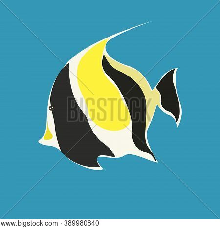 Tropical Fish Moorish Idol Black With Orange Design Element