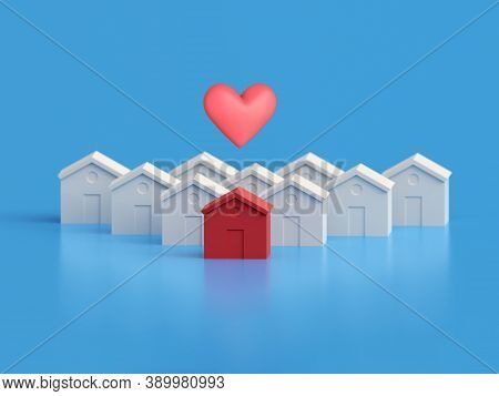 White Houses And One Red With Heart. Hot Property Amongst Others, Red House Amongst The White. Many