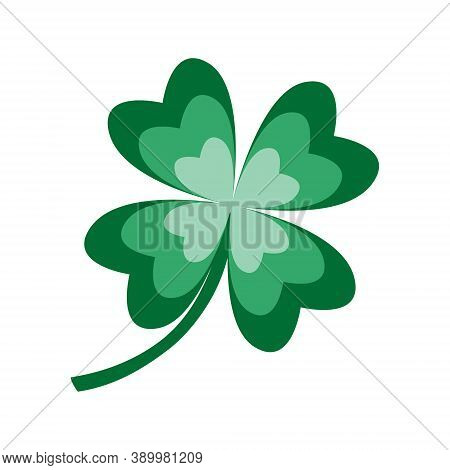 Clover Icon. Four Leaves Traditional Symbol Of Good Luck, Fortune. St. Patrick S Spring Irish Cultur
