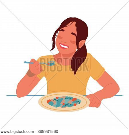 Happy Young Smiling Woman Eating Food. Vegetarian. Healthy Lifestyle. Vector Flat Illustration In Ca