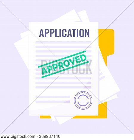 Application Document Form Submit Flat Style Design Icon Sign Vector Illustration Isolated On Light P