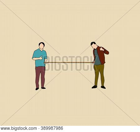 Two People Stand Apart Holding Tape Measure To Make Proper Distance. Social Distancing New Normal Co