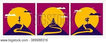 Woman Practices Meditation And Yoga On Top Of Mountain In Morning. Vector Illustration Of Meditation