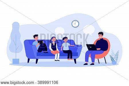 Man Working On Computer And Talking To His Children. Job, Family. Flat Vector Illustration. Telecomm