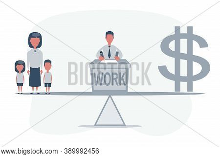 Simple Cartoon Of A Man On A Scale Between Dollar Symbol And His Family, Business, Balance Between C