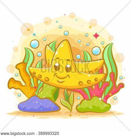 The Illustration Of The Yellow Starfish Around The Seaweed