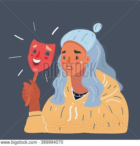 Vector Illustration Of Woman Hide Her Real Face By Holding Cheerful Mood Mask On Dark Background.