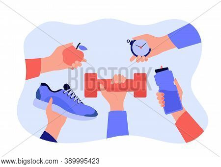 Different Hands Holding Accessories For Sport Exercise Flat Vector Illustration. Workout And Trainin