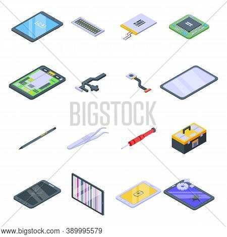 Tablet Repair Icons Set. Isometric Set Of Tablet Repair Vector Icons For Web Design Isolated On Whit