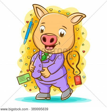 The Happy Pig Use The Purple Suite Around Writing Tools
