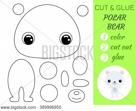 Coloring Book Cut And Glue Baby Polar Bear. Educational Paper Game For Preschool Children. Cut And P